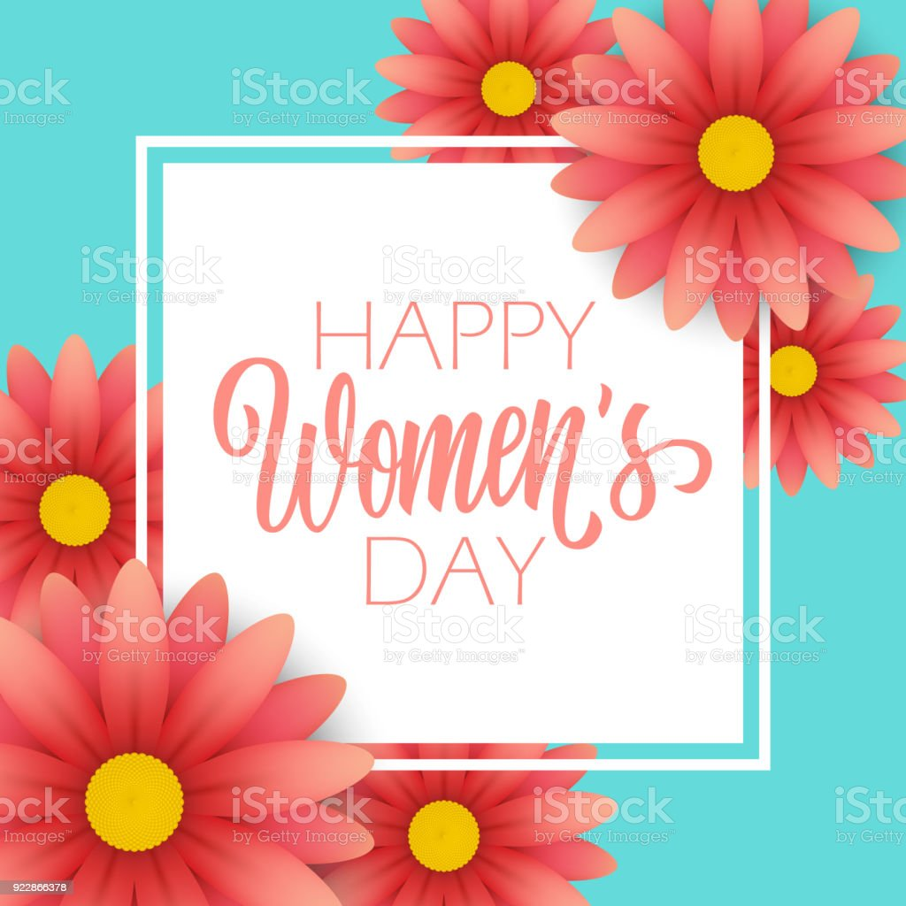 Happy womens day greeting card with calligraphic lettering text happy womens day greeting card with calligraphic lettering text design and blossom flowers creative template kristyandbryce Choice Image