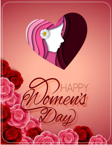 bildbanksillustrationer, clip art samt tecknat material och ikoner med glad kvinnors dag gratulationskort med kvinnliga ansikte - kvinna ansikte glow
