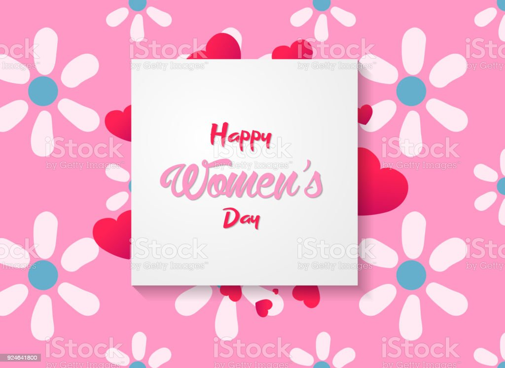 Happy Womens Day Greeting Card With Flowers And Hearts On Pink