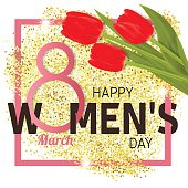 Happy Women's Day Greeting Card with tulips. Vector illustration .