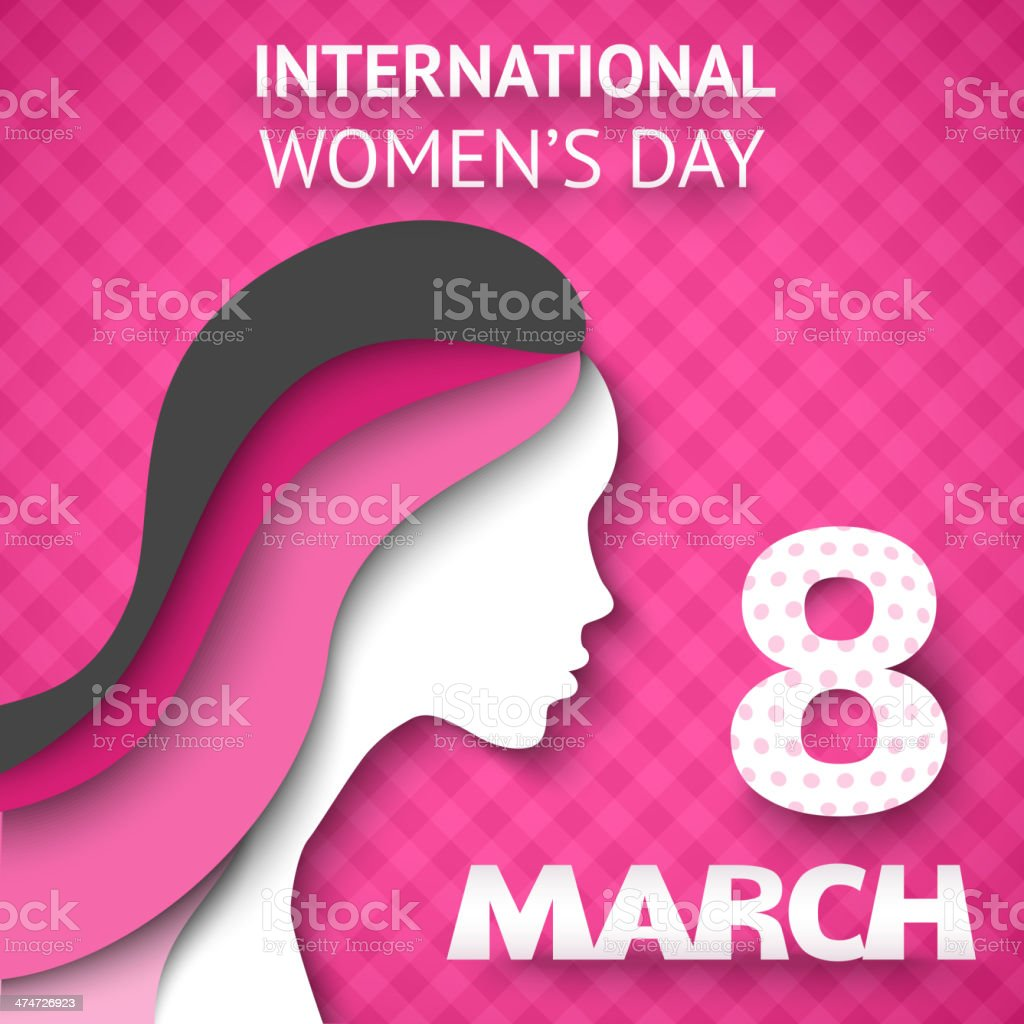 Happy Women's Day greeting or gift card vector art illustration