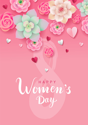 Happy Women's Day greeting poster or card design. Pink, green and creamy flowers with paper hearts on pink background. Hand-drawn lettering for design. - Vector