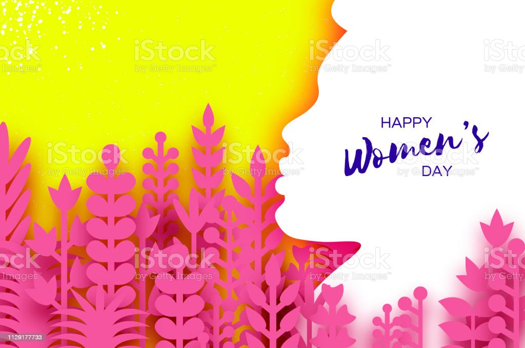 Happy Womens Day Greetings card. 8 March. Paper cutout girl head...