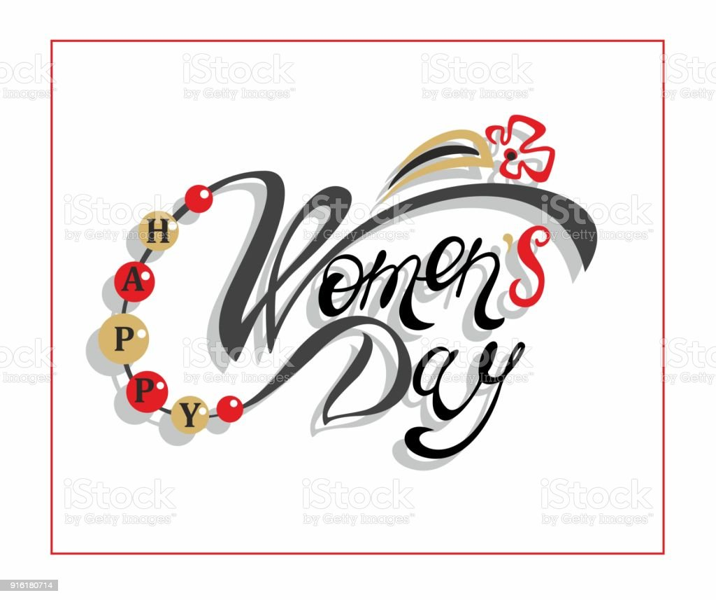 Happy Womens Day Holiday Card Lettering Design Greetings For Women