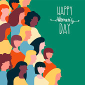 Happy Womens Day illustration for equal women rights. Colorful woman group of diverse cultures together on special event.