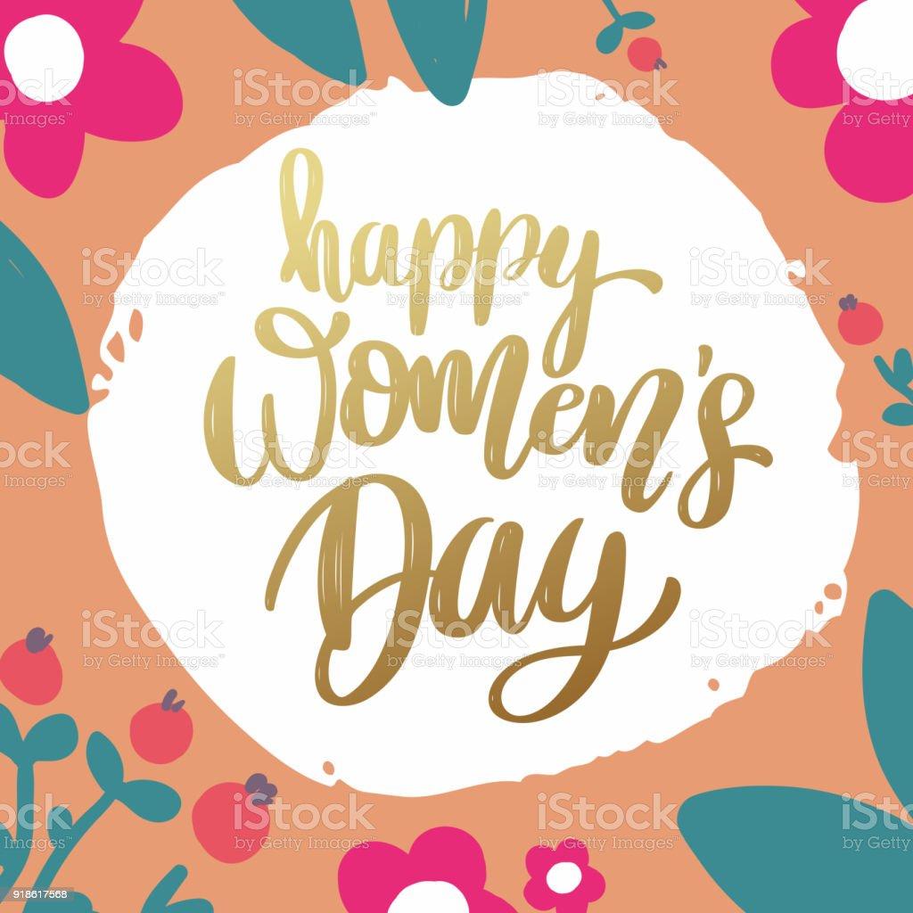 Ilustracion De Mujeres Feliz Dia Frase De Letras Sobre Fondo Con