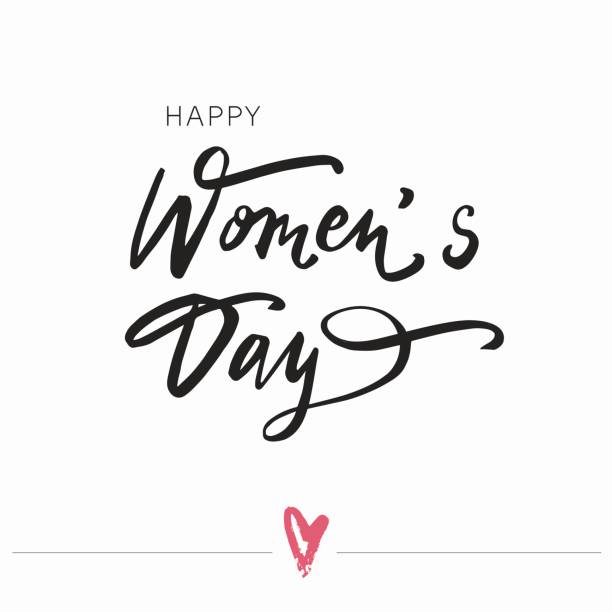 happy women's day lettering typography poster. - international womens day stock illustrations, clip art, cartoons, & icons