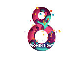 Happy Womens Day, March 8 greeting card. Design letter modern style papercut multi color layers
