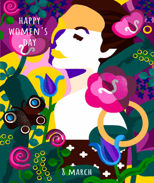 Happy Women's Day on March 8th. Abstract vector illustration of a female portrait and flowers and plants. Woman drawing for poster, card or background vector art illustration