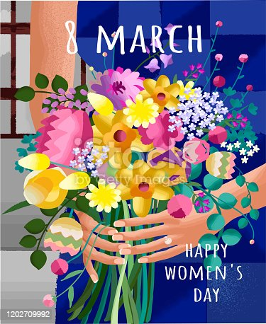 istock Happy Women's Day on March 8th. Abstract vector illustration of a flower bouquet in female hands. Gradient pattern of plants and leaves for poster, card or background. 1202709992