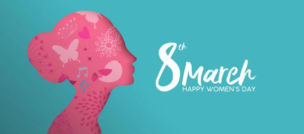 illustrations, cliparts, dessins animés et icônes de happy womens day papier rose fille coupe visage bannière - mars