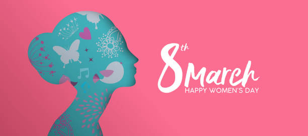 happy womens day pink paper cut girl face banner - international womens day stock illustrations, clip art, cartoons, & icons