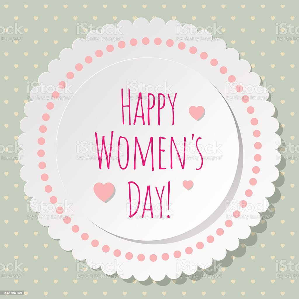Happy Women's Day Postcard Circle white on a Retro background. vector art illustration