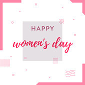Happy Women's Day Retro Web Banner for Social Media