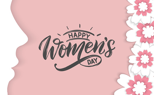 Happy Women's day typography poster as greeting card, festive design template.