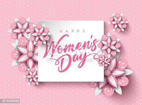 Women's Day Poster Design with Flower