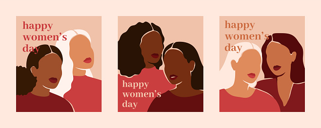 Happy women's day vertical cards with women of different ethnicities and cultures. Strong and brave girls support each other.