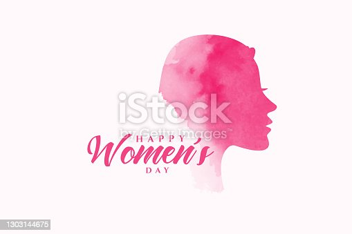istock happy women's day watercolor face background design 1303144675