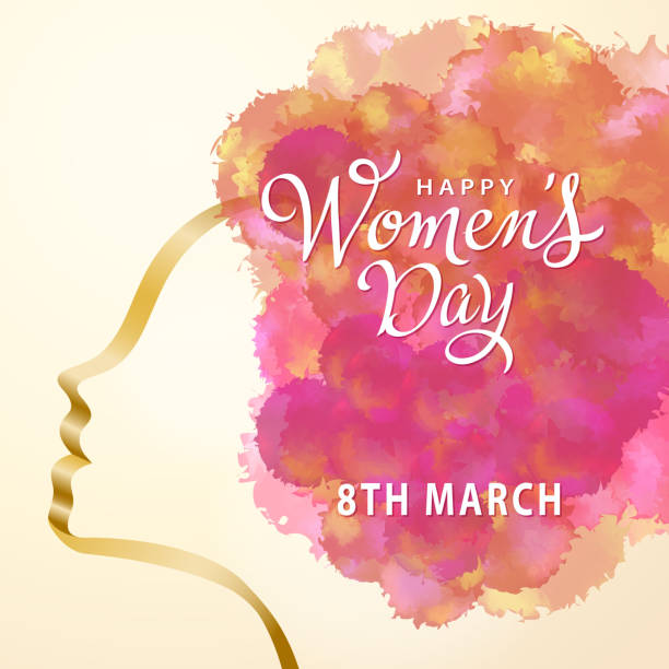 happy women's day watercolor - international womens day stock illustrations, clip art, cartoons, & icons