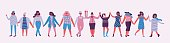 Colorful vector illustration concept of Happy Women's internarional day . Group of happy female friends, union of feminists, sisterhood holding hands in flat design