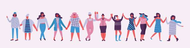 Happy Women's internarional day Colorful vector illustration concept of Happy Women's internarional day . Group of happy female friends, union of feminists, sisterhood holding hands in flat design girlfriend stock illustrations