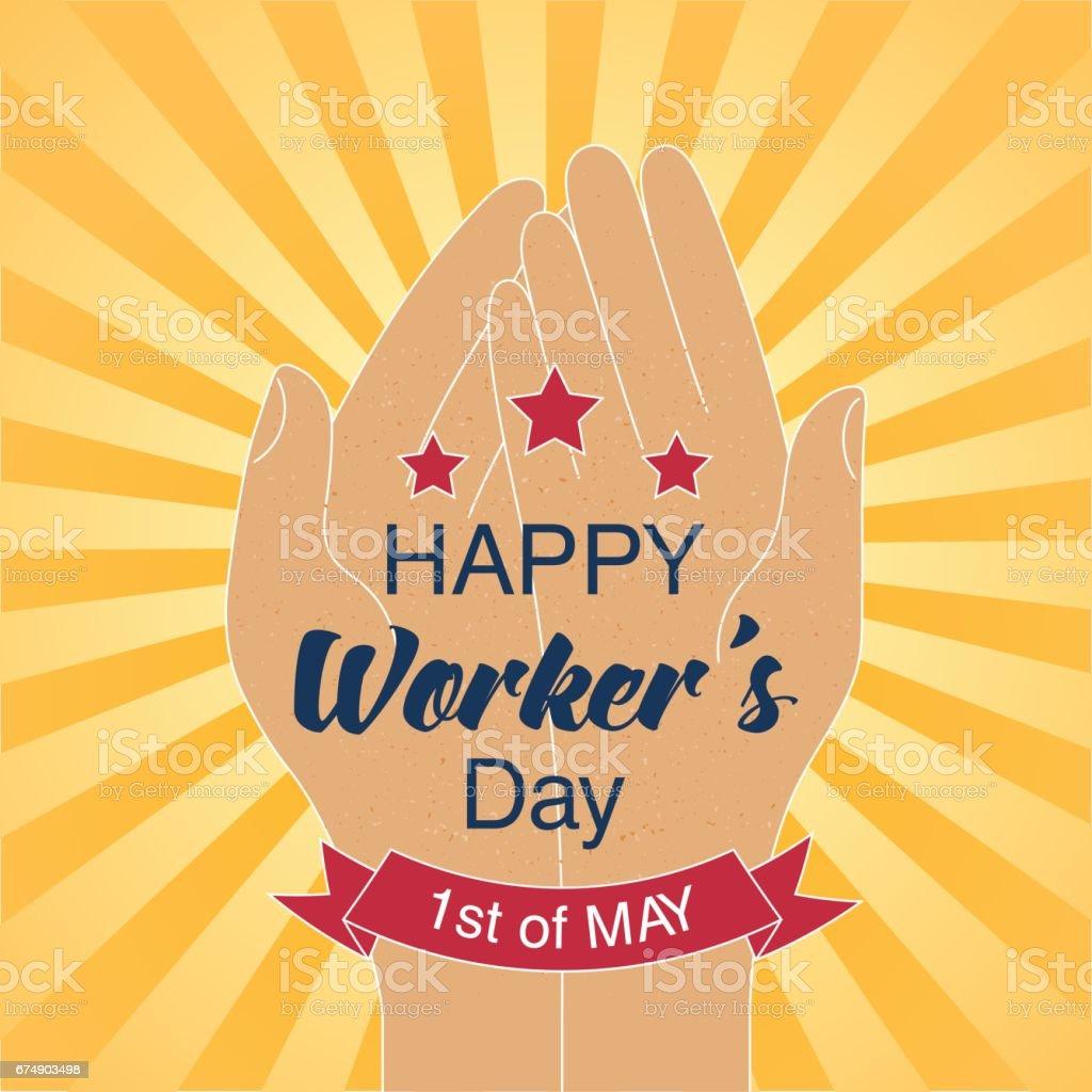 Tarjeta del día del trabajador feliz con estrellas y cinta roja. 1 de mayo fecha. - ilustración de arte vectorial