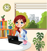 business woman worker in office,vector illustration