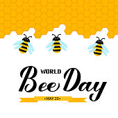 istock Happy World Bee Day calligraphy hand lettering with cute cartoon bees and honeycombs isolated on white. Easy to edit vector template for banner, poster, flyer, sticker, postcard, t-shirt, etc. 1224789492
