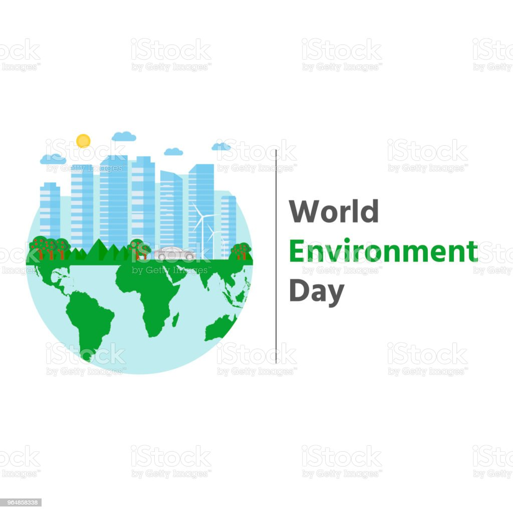 Happy World Environment Day postcard with green city background, royalty-free happy world environment day postcard with green city background stock vector art & more images of abstract
