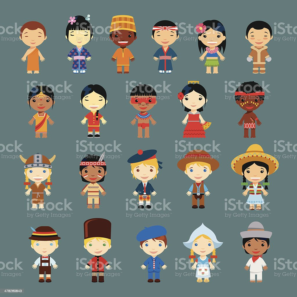Happy World Kids Set with multicultural traditional costumes vector art illustration