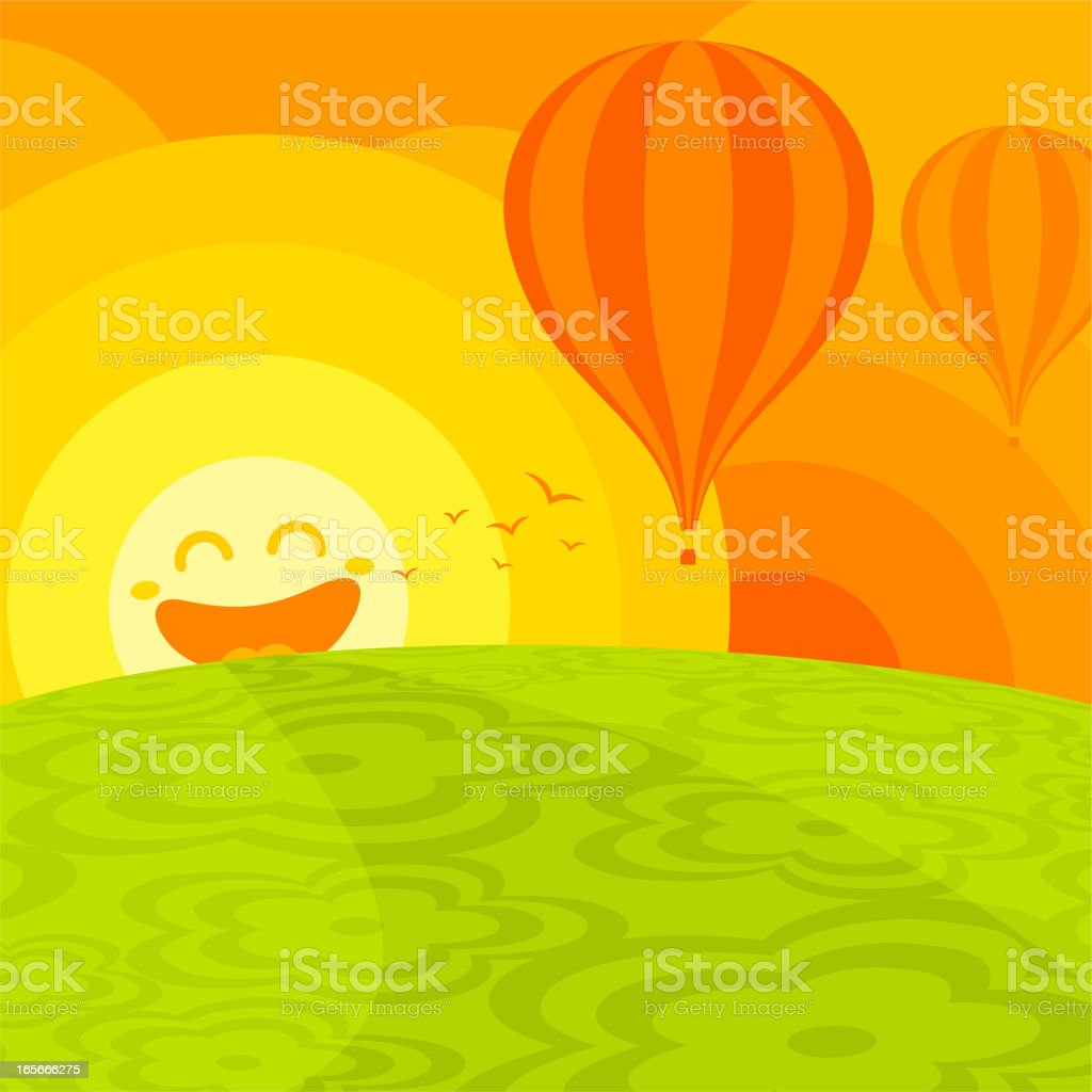 Happy world. summer landscape smile sun illustration vector minimil royalty-free happy world summer landscape smile sun illustration vector minimil stock vector art & more images of anthropomorphic smiley face