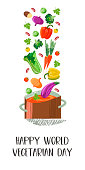 Happy world vegetarian day. Vector illustration on white background. Delicious colorful vegetables with hand drawn unique texture fall into the sousepan.