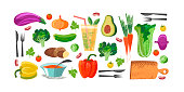 Set of hand drawn vegetables, vegetarian food, juice, soup.  Vector illustration on white background. Delicious colorful vegetables with hand drawn unique texture.