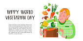 Happy world vegetarian day. Vector illustration on white background. A vegetarian holding a saucepan into which fall vegetables.