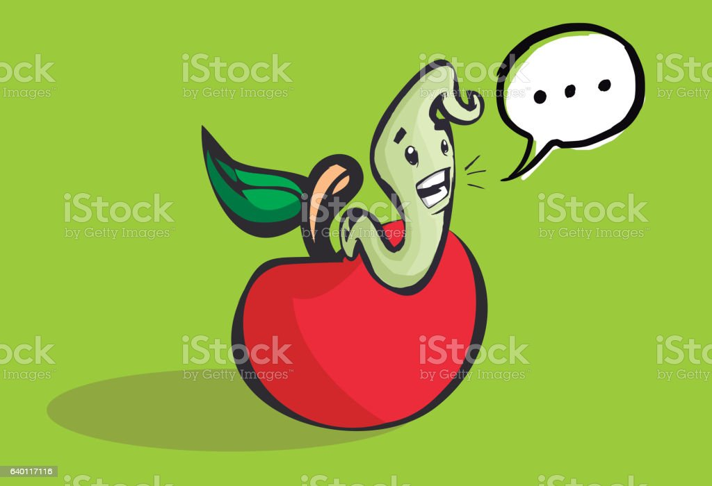 Happy worm coming out of a hole in an apple vector art illustration