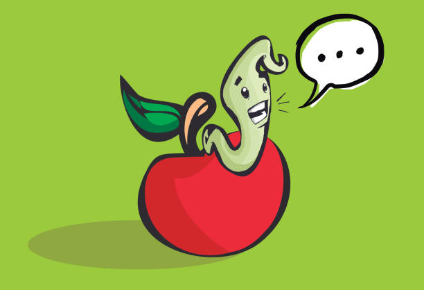 happy worm coming out of a hole in an apple - rotten apple stock illustrations, clip art, cartoons, & icons