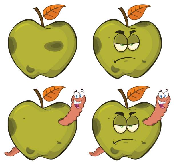 happy worm in a grumpy rotten green apple fruit cartoon mascot characters series set 2. collection - rotten apple stock illustrations, clip art, cartoons, & icons