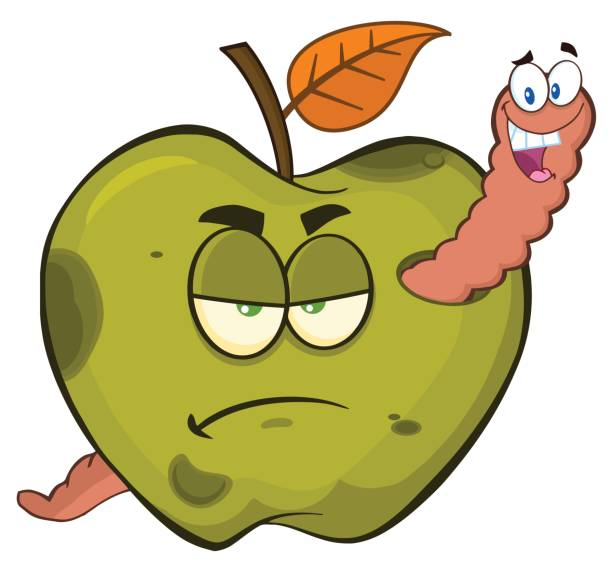 happy worm in a grumpy rotten green apple fruit cartoon mascot characters - rotten apple stock illustrations, clip art, cartoons, & icons