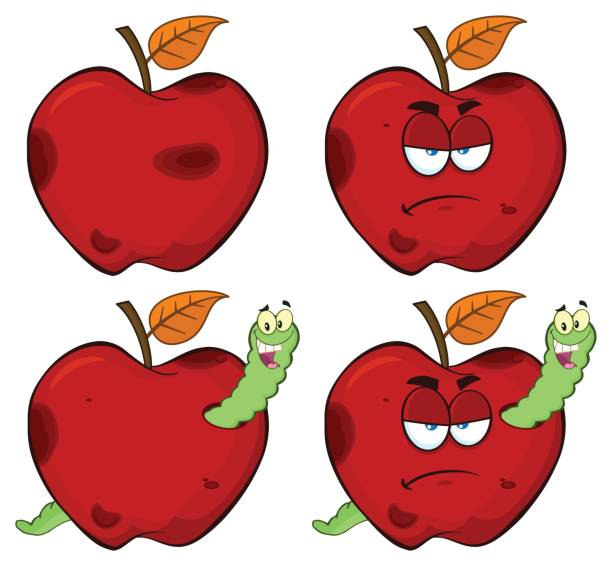 happy worm in a grumpy rotten red apple fruit cartoon mascot characters series set 1. collection - rotten apple stock illustrations, clip art, cartoons, & icons