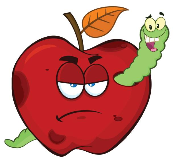 happy worm in a grumpy rotten red apple fruit cartoon mascot characters - rotten apple stock illustrations, clip art, cartoons, & icons