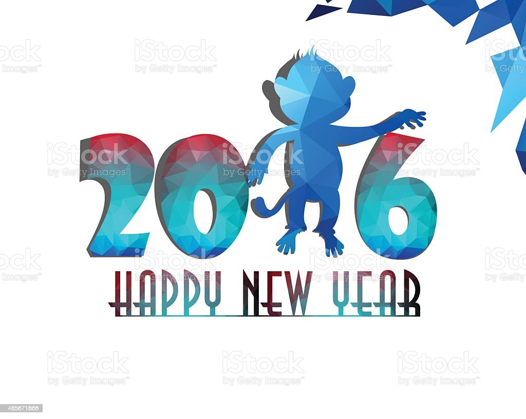 Happy year of monkey greeting card stylized triangle polygonal happy year of monkey greeting card stylized triangle polygonal model royalty free stock vector art kristyandbryce Choice Image