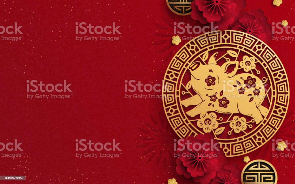 Happy Year Of The Pig design vector art illustration