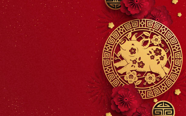 happy year of the pig design - chinese new year stock illustrations