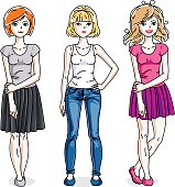 Happy young adult girls female standing wearing casual clothes. Vector characters set.