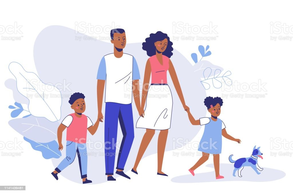 Happy young african american family dad, mom, son, daughter and dog on walk. Family black couple father and mother with children girl and boy walking together. Happiness and love concept. Adult stock vector