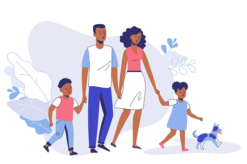 Happy young african american family dad, mom, son, daughter and dog on walk. clipart