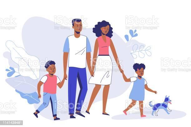 Happy young african american family dad mom son daughter and dog on vector id1141439481?b=1&k=6&m=1141439481&s=612x612&h=c99ngx1lngz2llf1gvg6sluqlmmzoy qeyyg5 eahg8=