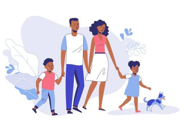 ilustraciones, imágenes clip art, dibujos animados e iconos de stock de feliz familia joven afroamericana padre, mamá, hijo, hija y perro a pie. - hija
