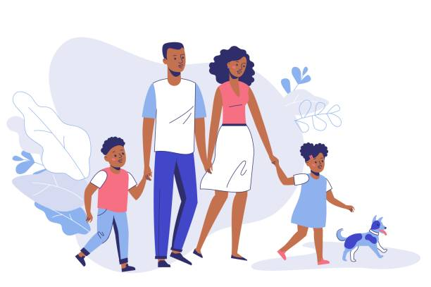 Happy young african american family dad, mom, son, daughter and dog on walk. Family black couple father and mother with children girl and boy walking together. Happiness and love concept. daughter stock illustrations