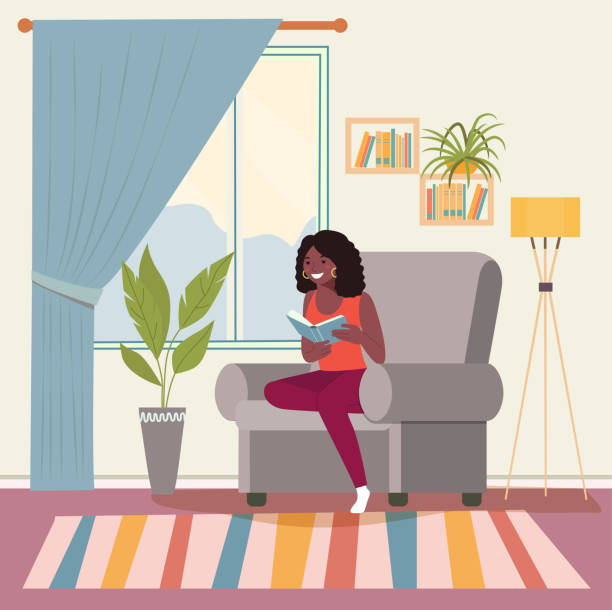 stockillustraties, clipart, cartoons en iconen met de gelukkige jonge afro amerikaanse vrouw ontspant op comfortabele stoel en lezingsboek. vector vlakke illustratie - woman home magazine